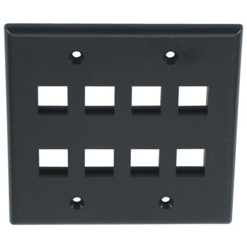 Wall Plate Black Keystone 2P08